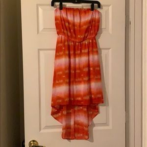 High-low orange and yellow dress